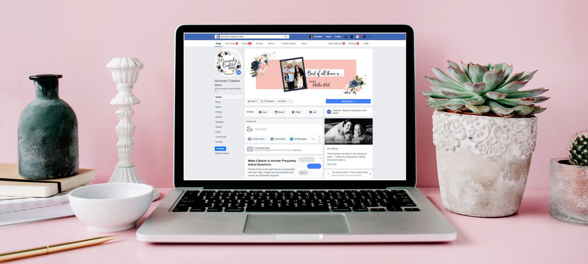 image of a laptop showing the sincerely creative mom facebook page